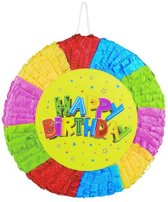 Ronde Happy Birthday pinata - Feestdecoratievoorwerp