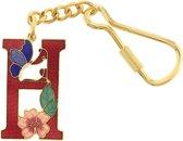Behave® Sleutelhanger rood emaille letter H 4cm