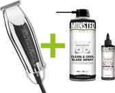WAHL Detailer Trimmer T-Wide 32mm Zwart - 5-Star - Strakke lijnen - Lichtgewicht + Monster Clippers Clean & Cool Blade Spray + Monster Clippers Oil voor Tondeuses en Trimmers