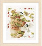 borduurpakket PN0168599 marjolein bastin, vogels met aardbeien