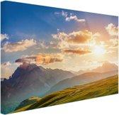 Zonsondergang in de bergen Canvas 80x60 cm - Foto print op Canvas schilderij (Wanddecoratie)