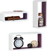 relaxdays wandplank set van 3 - gelakte wandboards - gekleurde cubes - wandelement Wit-Violet