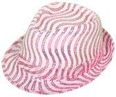 Glitter Hoed Roze/Wit