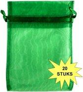 Fako Bijoux® - Organza Zakjes - 10x15cm - Donkergroen - 20 Stuks