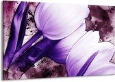 Canvas schilderij Tulpen | Paars, Wit | 140x90cm 1Luik