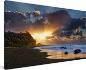 Strand van het Nationaal park Whanganui op het Noordereiland Canvas 40x20 cm - Foto print op Canvas schilderij (Wanddecoratie woonkamer / slaapkamer)