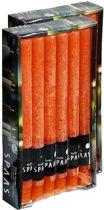 24x Oranje rustieke rechte dinerkaarsen 25 cm 10 branduren - Geurloze kaarsen - Huishoudkaarsen/tafelkaarsen/kandelaarkaarsen