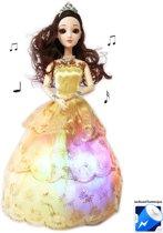 Little Dancing Princess - Speelgoed pop- prinsesje met lichtjes en muziek - goud (incl. batterijen)