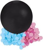 Gender reveal ballon inclusief roze en blauwe confetti - 60 cm - geslachtsonthulling versiering