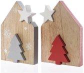Huis MDF ster-boom 2.5x15.5x22cm Kerstartikelen