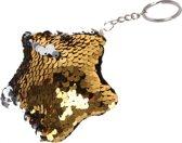Kamparo Sleutelhanger Met Draai-pailletten Zilver/goud 8 Cm