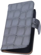 Samsung Galaxy Note 4 N910F Grijs | Glans Croco bookstyle / book case/ wallet case Hoes  | WN™