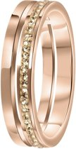 Lucardi Ringen  - Stalen ring roseplated 2rij met light peach
