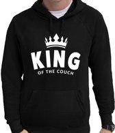 King of the couch / bank hanger hoodie zwart voor heren - fun tekst hooded sweater L