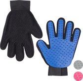 relaxdays vachtverzorgingshandschoen hond kat - borstel handschoen hondenborstel ontharen blauw