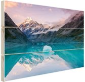 Mount Cook bij zonsondergang  Hout 30x20 cm - klein - Foto print op Hout (Wanddecoratie) / Zee en Strand