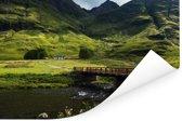 Mooie rivier en bruggetje van Glen Coe in Schotland Poster 180x120 cm - Foto print op Poster (wanddecoratie woonkamer / slaapkamer) XXL / Groot formaat!