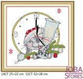 """Borduur Pakket """"JobaStores®"""" Kerst Konijn 11CT voorbedrukt (32x28cm)"""