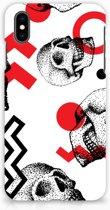 iPhone Xs Max Hardcase Hoesje Design Skull Red