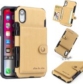 Let op type!! For iPhone XR Brushed Texture Shockproof PU + TPU Case  with Card Slots & Wallet & Photo Frame(Gold)