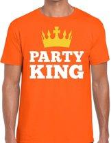 Oranje Party king t- shirt - Shirt voor heren - Koningsdag kleding S