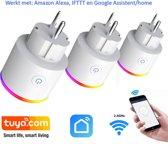 Slimme Stekker - set van 3 - 16A - 3840W - smart plug - WiFi 2.4G - met energiemeter - Voor smartphone met APP - werkt met Amazon Alexa - Google Home - en IFTTT.