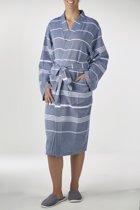 Hamam Badjas Costa Navy - unisex maat L - hotelkwaliteit- dames/heren/unisex - dunne badjas - luxe badjas - sauna badjas - kimono badjas - badjas met badstof - ochtendjas - duster - reisbadjas - badmantel