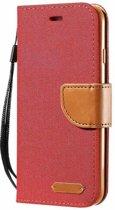 Luxe Apple iPhone 7 - iPhone 8 Wallet Book Case Denim Rood Cover - Spijkerstof Hoes