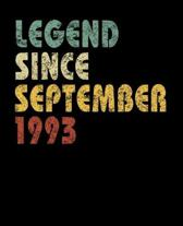 Legend Since September 1993: Vintage Birthday Gift Notebook With Lined College Ruled Paper. Funny Quote Sayings Notepad Journal For Taking Notes At