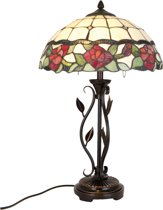Tafellamp Tiffany compleet ø 35*61 cm 2x E27/60W Rood | 5LL-5785 | Clayre & Eef