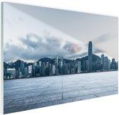Skyline in de avond Hong Kong Glas 90x60 cm - Foto print op Glas (Plexiglas wanddecoratie)