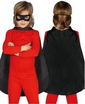 Zwarte superhelden cape voor kinderen - Verkleedattribuut