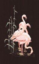 Thea Gouverneur Borduurpakket 1070.05 Flamingo's - Aida stof zwart 100% katoen