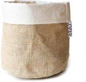 SIZO jute bag natural/wit D15 H15cm