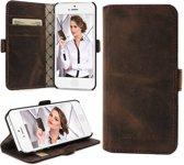 Echt Leer cover - iPhone 5 & 5S hoesje - Lederen Wallet Case Bruin - WalletCase (Antic Coffee)