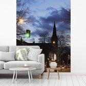 Fotobehang vinyl - Avond straatbeeld in het Engelse Sheffield breedte 255 cm x hoogte 340 cm - Foto print op behang (in 7 formaten beschikbaar)