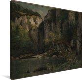 Rivier en rotsen - Schilderij van Gustave Courbet Canvas 40x30 cm - klein - Foto print op Canvas schilderij (Wanddecoratie woonkamer / slaapkamer)