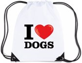 Nylon I love dogs/ honden rugzak/ gymtas wit met rijgkoord