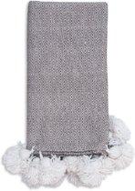 Pom pom deken – handgeweven uit wol & katoen – 1 x 2 m - Plaid