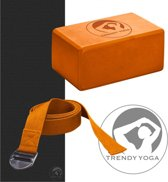 Trendy Sport - Yoga set - (Yogamat Antraciet + Yogablok 10 cm h Oranje + Yogariem Oranje)