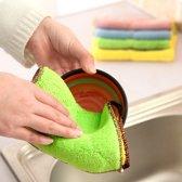 5 STÃCK bamboe Fiber wassen schotel handdoek keuken schoonmakende doek dubbelzijdige wassen doek Water absorptie niet-Stick olie  niet te hangen kan  willekeurige kleur levering