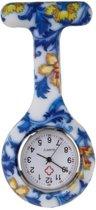 Fako® - Verpleegstershorloge - Zusterhorloge - Siliconen Print - Bloemen Blauw/Geel