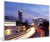 Foto in lijst - De horizon van Essen in de schemering fotolijst wit 60x40 cm - Poster in lijst (Wanddecoratie woonkamer / slaapkamer)