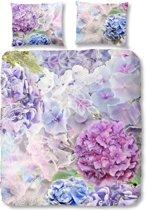 Good Morning 5418-P met blauwe en paarse bloemen - dekbedovertrek - lits jumeaux - 240x200/220 cm  - katoen - multi