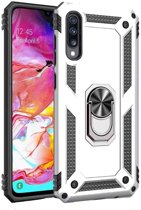 Teleplus Samsung Galaxy A7 2018 Vega Ringed Tank Cover Case Silver + Nano Screen Protector hoesje
