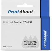 Huismerk Brother TZe-231 Tape Zwart op wit (12 mm)