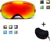 Ski bril + hard case lens Smoke red frame Rood F type 1 Cat. 0 tot 4 - ☀/☁ extra lens is optie.