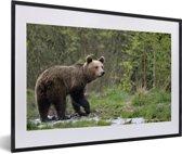 Foto in lijst - Een Grizzlybeer in een groene omgeving fotolijst zwart met witte passe-partout 60x40 cm - Poster in lijst (Wanddecoratie woonkamer / slaapkamer)