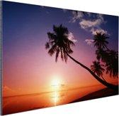 Silhouet van palmbomen bij zonsondergang Aluminium 180x120 cm - Foto print op Aluminium (metaal wanddecoratie) XXL / Groot formaat!