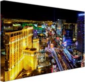 FotoCadeau.nl - Skyline Las Vegas in de nacht Canvas 60x40 cm - Foto print op Canvas schilderij (Wanddecoratie)